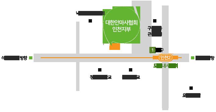 대한안마사협회 인천지부 약도 : 인천지하철 2호선 모래내시장역 하차 후 1번 출구 이용, 인천시청 방향으로 직진 도보 5분